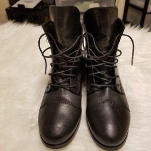 Skecher Geniue Leather Combat Black Boots